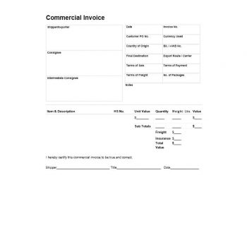 Commercial Invoice Template 26