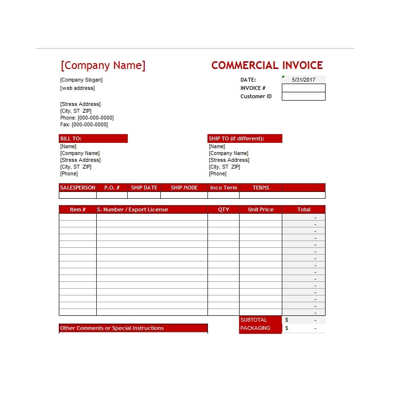 Commercial Invoice Template 33