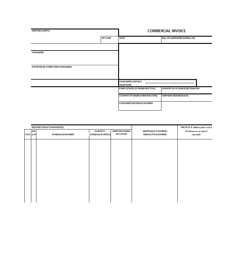 Commercial Invoice Template 36