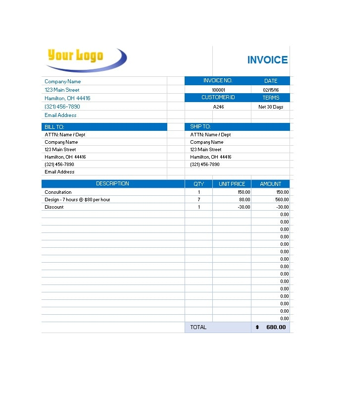 Commercial Invoice Template 41