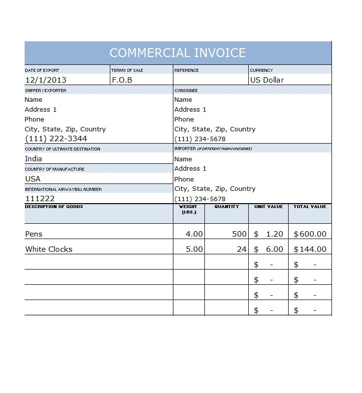 Commercial Invoice Template 43
