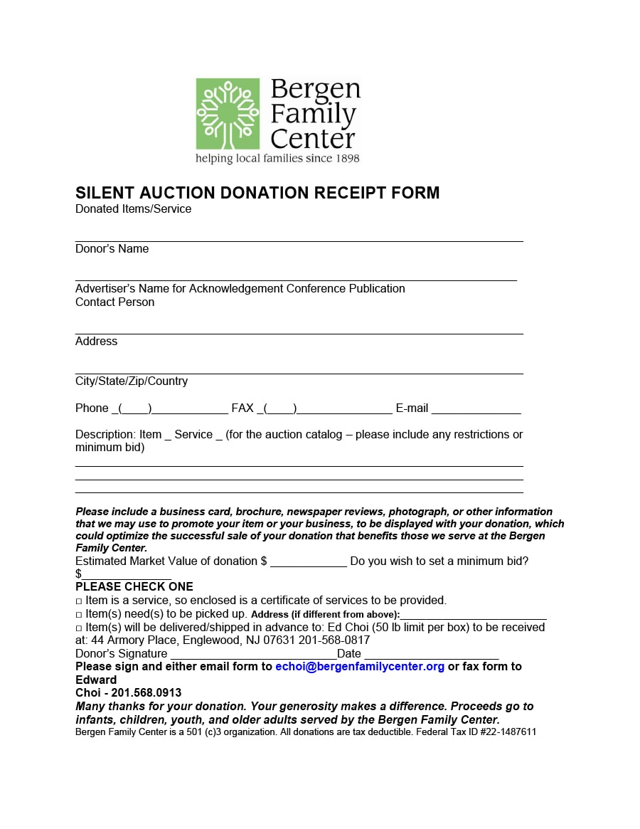 silent auction receipt template