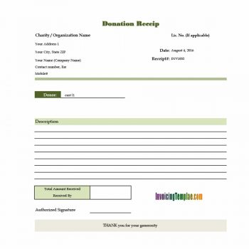 donation receipt template 15