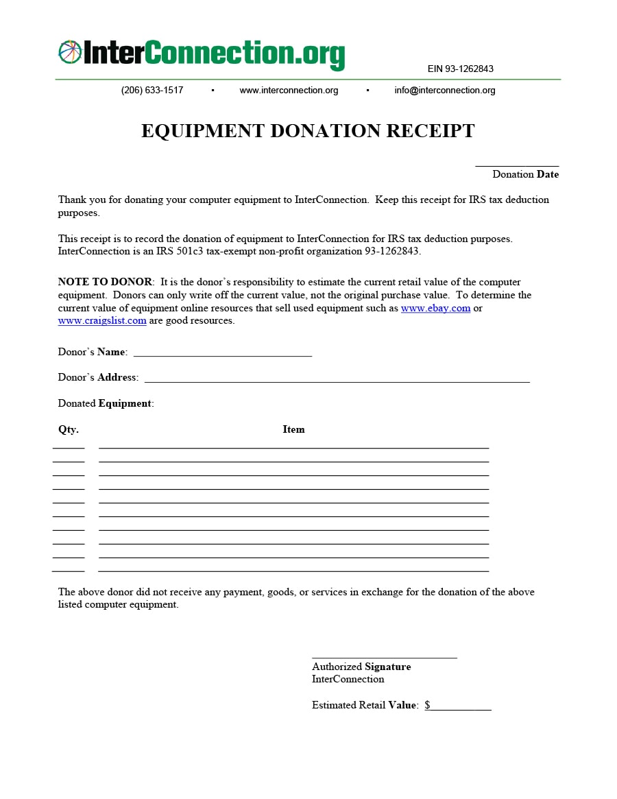 donation receipt template 17