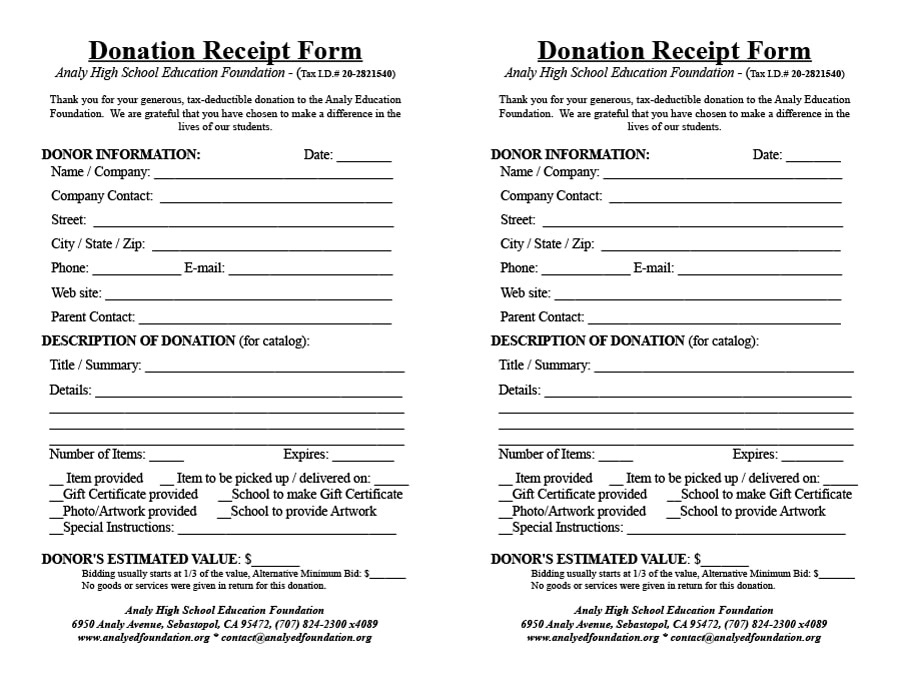 donation receipt template 21