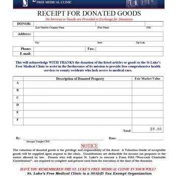 donation receipt template 27