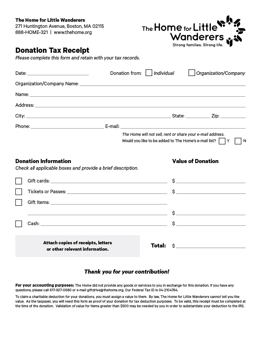 donation receipt template 35