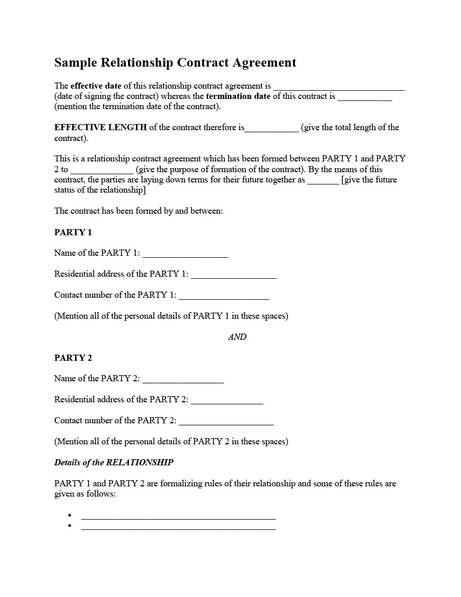 relationship agreement a contract for lovers pdf 20  Relationship Contract Templates