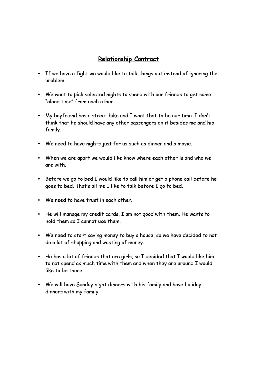 love contract template - 20 relationship contract templates relationship agreements