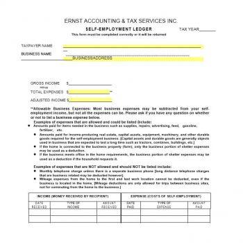 self employment ledger template 01