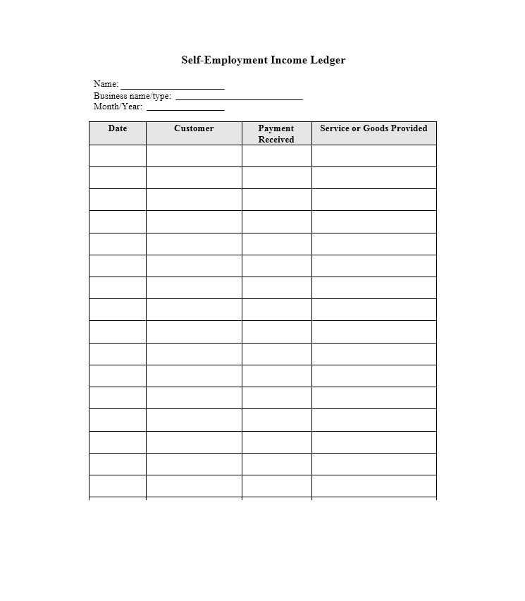 Good Self Employment Ledger Template 03 And Ledger Template Free
