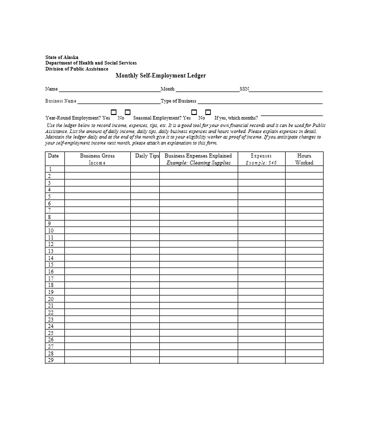 Self Employment Ledger Template 07  Business Ledger Example