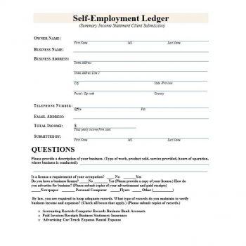 self employment ledger template 08