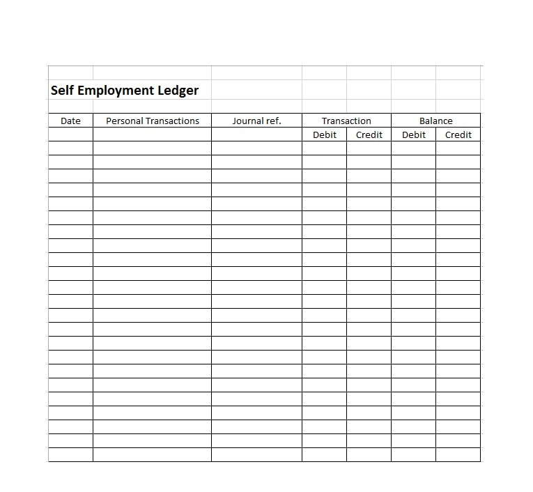 self employment ledger template 18