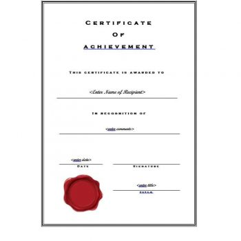 Certificate of Achievement Template 01