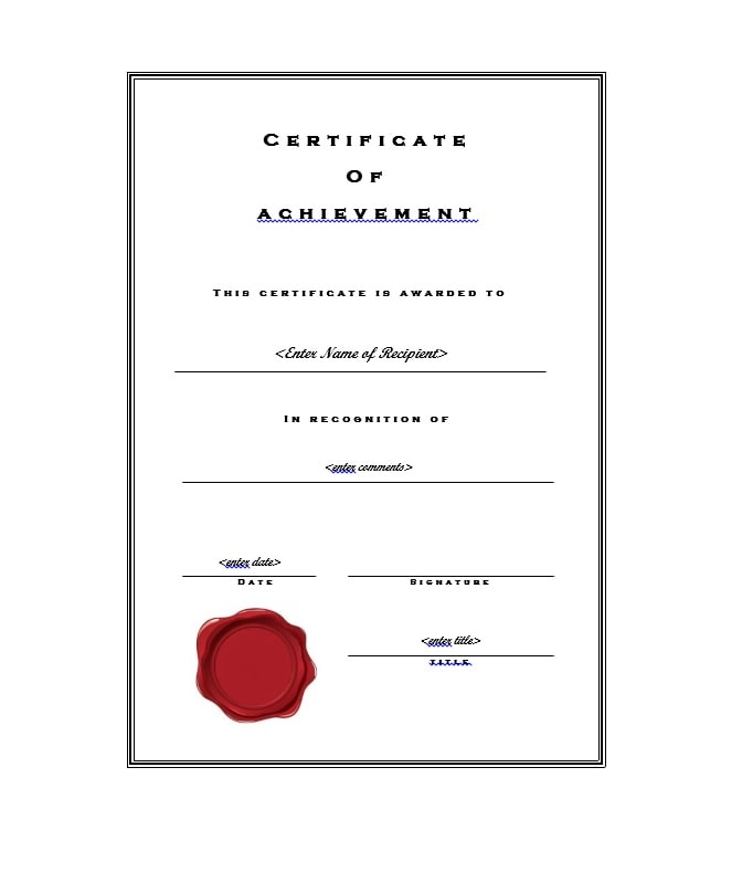 Attractive Certificate Of Achievement Template 01 Throughout Certificate Of Achievement Template