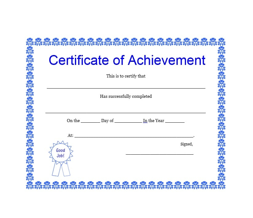 40 great certificate of achievement templates free template archive certificate of achievement template 14 yelopaper