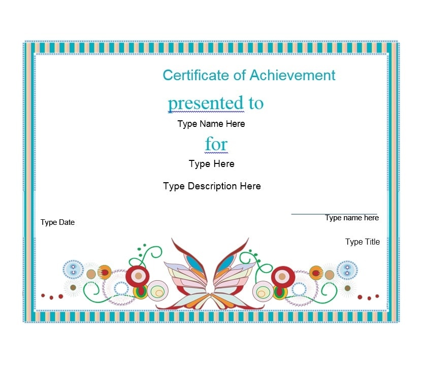 Certificate Of Achievement Template 22  Printable Certificates Of Achievement