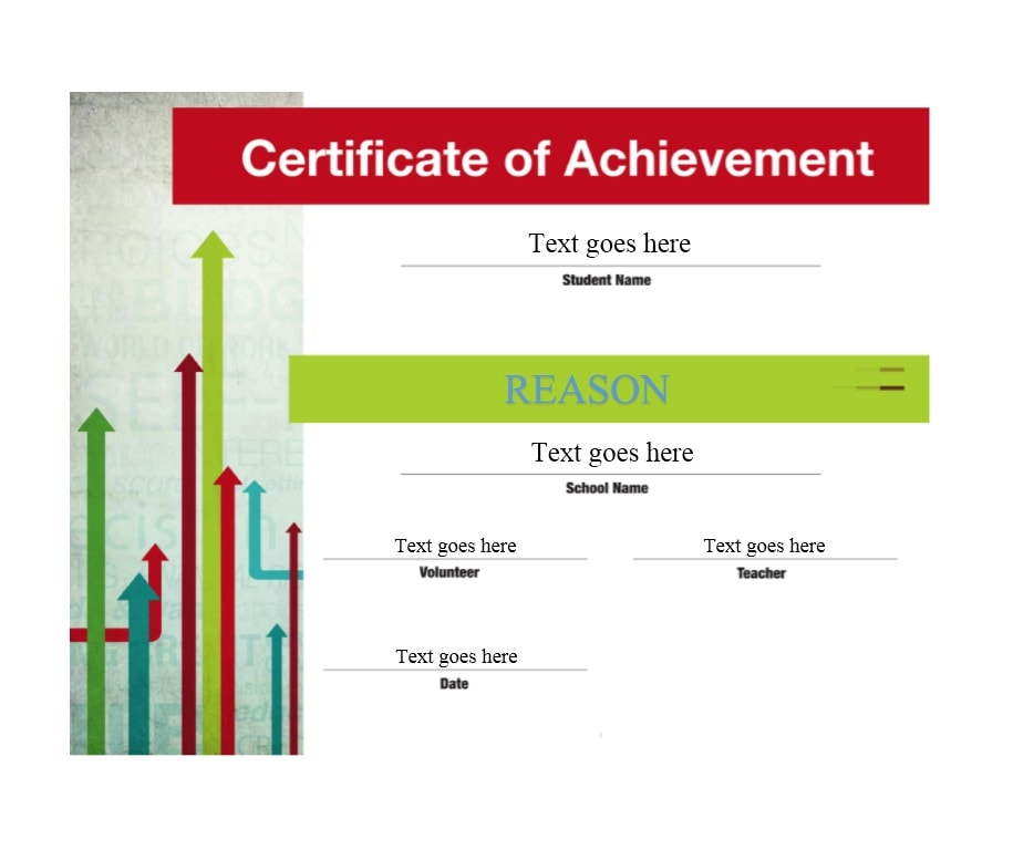 student certificate of achievement