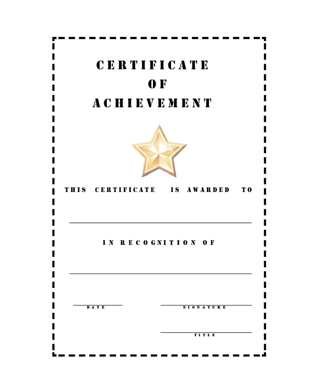 Certificate Of Achievement Template 26  Printable Certificates Of Achievement