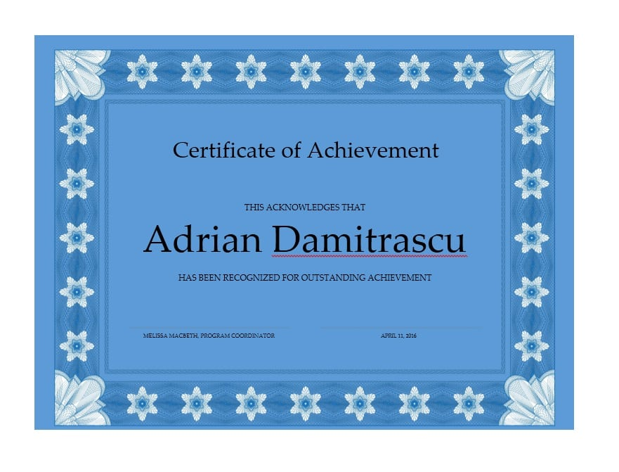 outstanding achievement award template