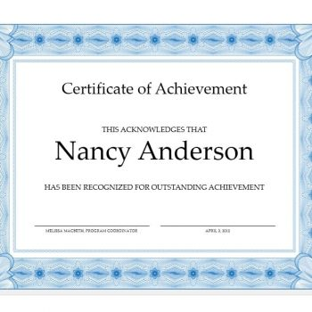 Certificate of Achievement Template 38