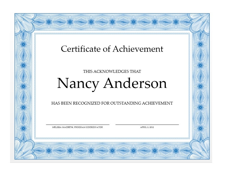 Certificate Of Achievement Template 38  Certificate Achievement Template