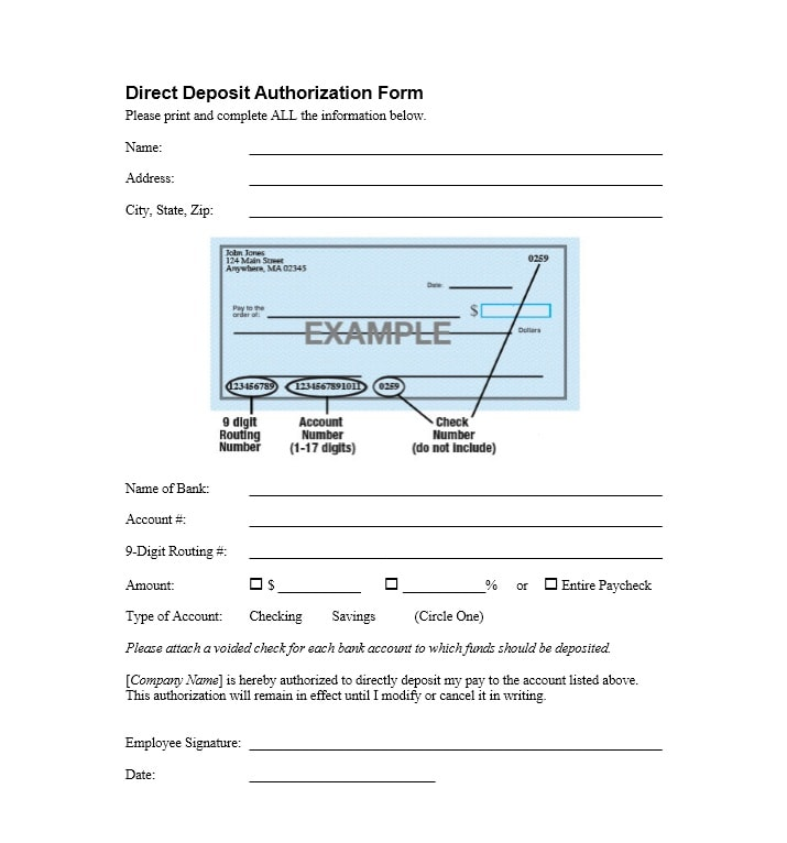 Direct Deposit Authorization Form 01
