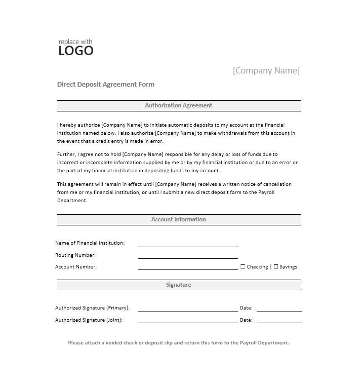 sample direct deposit form canada  12 Direct Deposit Authorization Form Templates - Template ...