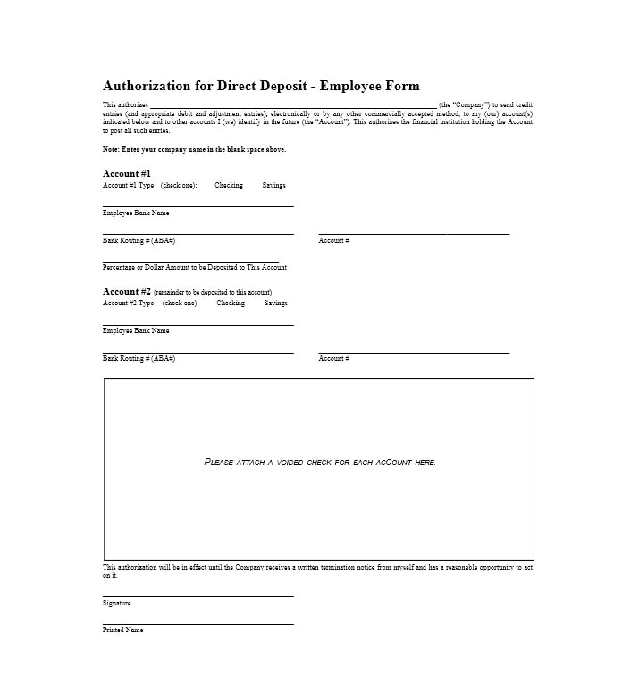 Direct deposit forms for employees template gallery for Direct deposit forms for employees template