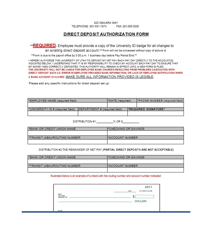 Fine Direct Deposit Form Template Pictures Inspiration  Example