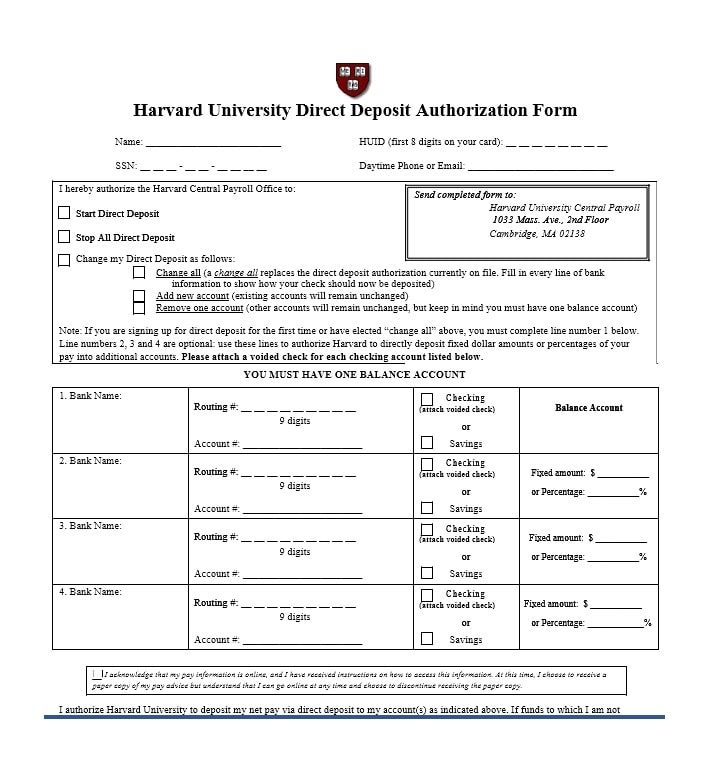 Best Direct Deposit Authorization Form Example Pictures  Best