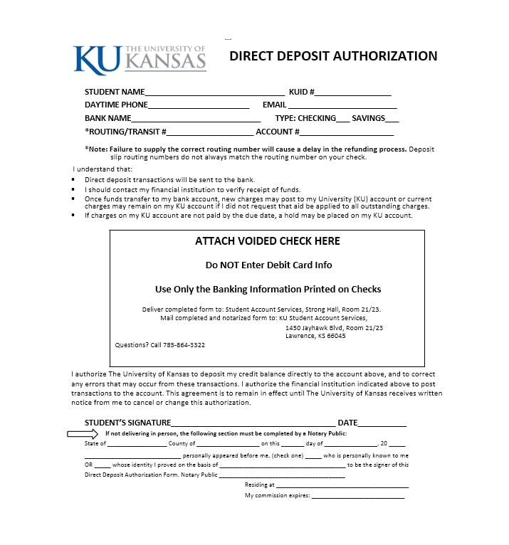 Direct Deposit Authorization Form 07