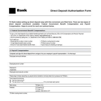 Direct Deposit Authorization Form 14