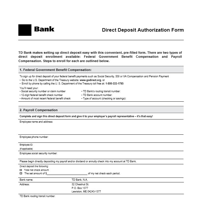 Direct Deposit Authorization Form 14