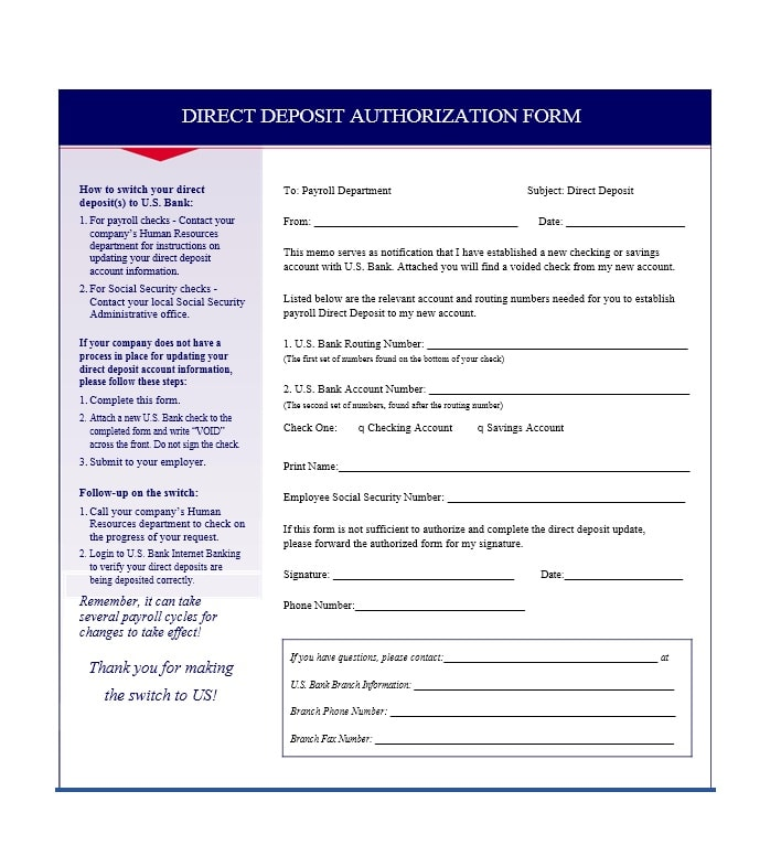 Direct Deposit Authorization Form 16