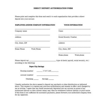Direct Deposit Authorization Form 20