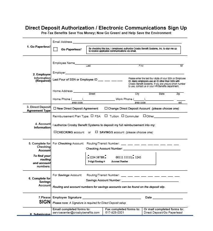 Direct Deposit Authorization Form Templates  Template Archive