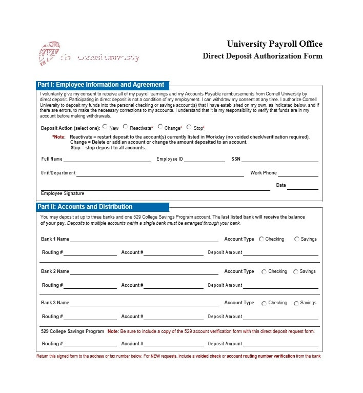 Direct Deposit Authorization Form 22