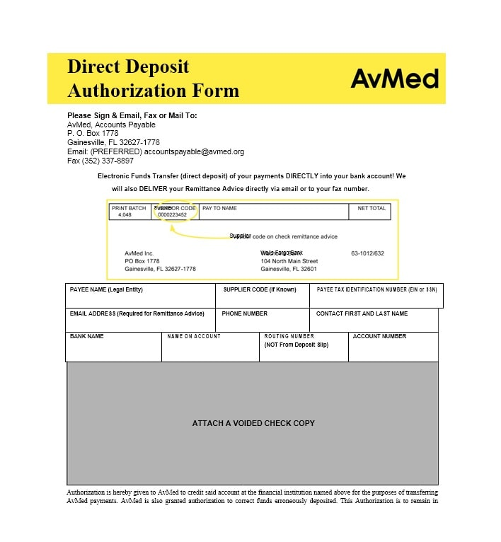 Direct Deposit Authorization Form 24