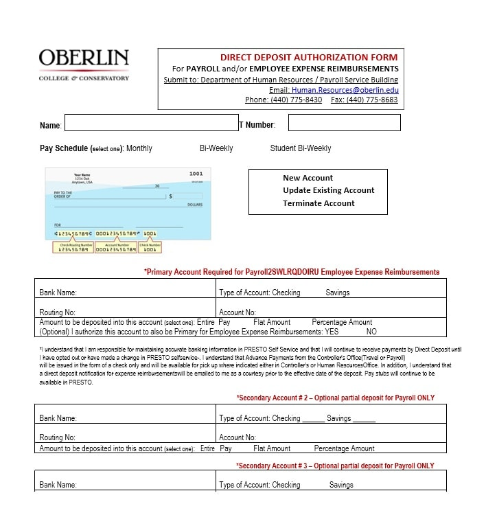 47 direct deposit authorization form templates