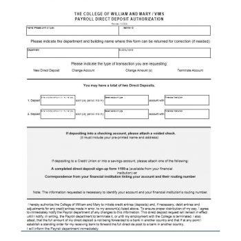 Direct Deposit Authorization Form 27
