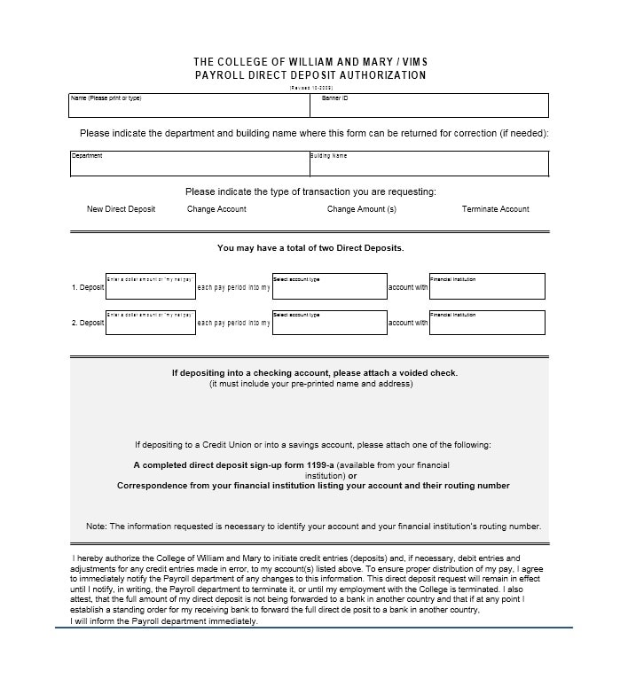 Direct Deposit Authorization Form 27