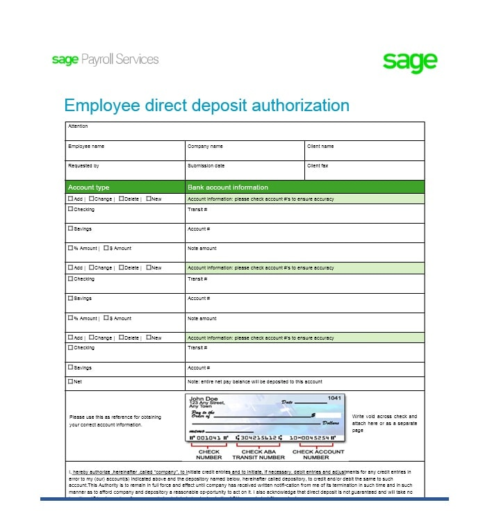 Direct Deposit Authorization Form 30