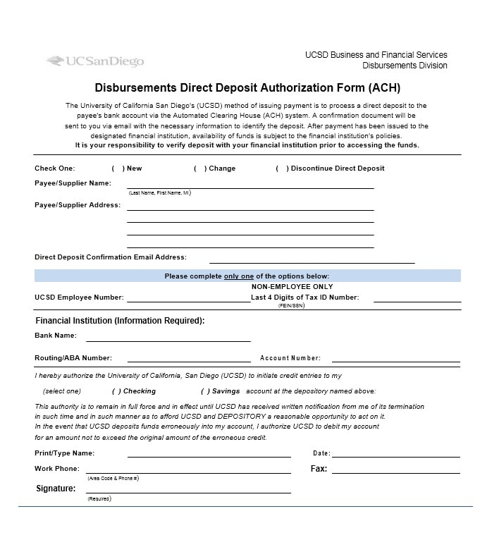 Direct Deposit Authorization Form 34