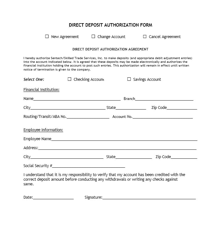 Direct Deposit Authorization Form 40