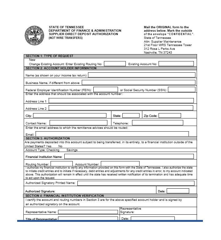 Direct Deposit Authorization Form 43
