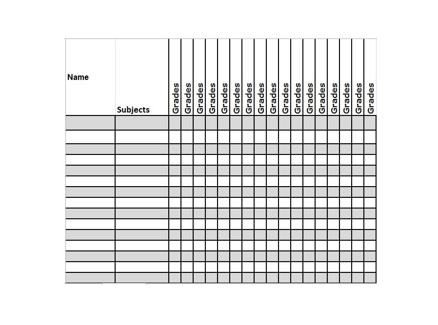 image relating to Free Printable Grade Sheet titled 30 No cost Gradebook Templates - Template Archive
