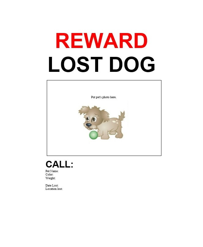 Lost Dog Flyer Template 01  Missing Reward Poster Template