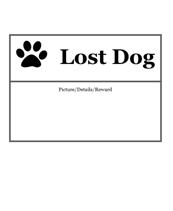 Lost Dog Flyer Template 02  Lost Dog Poster Template